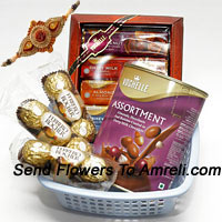 3 Small Packs Of 3 Pcs Ferrero Rocher Accompanied With Two Boxes Of Imported Vochelle Chocolate With A Free Rakhi.(This Product Needs To Be Accompanied With The Flowers. Also Note That We Will Replace Vochelle With Any Other Chocolates Of Equal Value In Case Of Non-Availability)