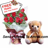 productBunch Of 12 Red Roses With Fillers And A Small Cute Teddy Bear With A Free Rakhi