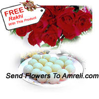 productBunch Of 12 Red Roses And 1 Kg Rasogulla With A Free Rakhi