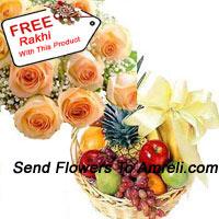 productBunch Of 12 Orange Roses With 3 Kg Fresh Fruit Basket With A Free Rakhi