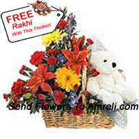 productBasket Of Assorted Flowers With A Cute Teddy Bear And A Free Rakhi