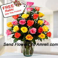 product24 Mixed Colored Roses In A Vase With A Free Rakhi