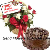 productBasket Of 24 Mixed Colored Roses And A 1 Kg (2.2 Lbs) Chocolate Cake With A Free Rakhi