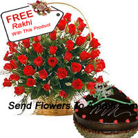 productA Basket Of 50 Red Roses With Seasonal Fillers And A 1 Kg (2.2 Lbs) Heart Shaped Chocolate Truffle Cake With A Free Rakhi