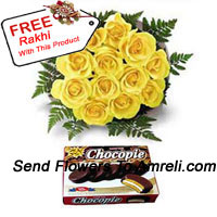 productBunch Of 12 Yellow Roses And A Box Of Chocolate With A Free Rakhi