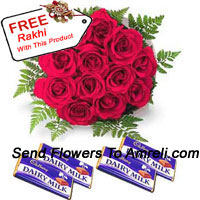 productBunch Of 12 Red Roses With Assorted Chocolates With A Free Rakhi