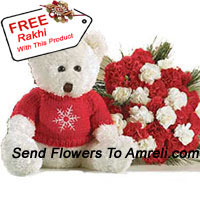 productBunch Of 24 Red And White Carnations With A Medium Sized Cute Teddy Bear With A Free Rakhi