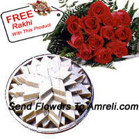 productBunch Of 12 Red Roses With 1 Kg (2.2 Lbs) Kaju Katli With A Free Rakhi