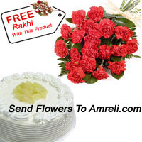 Bunch Of 12 Red Carnations With 1/2 Kg Vanilla Cake And A Free Rakhi