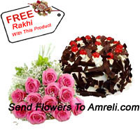 Bunch Of 12 Pink Roses Along With 1 Kg Chocolate Crisp Cake And A Free Rakhi