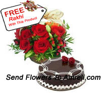 productBasket Of 12 Red Roses With 1 Kg Chocolate Truffle Cake And A Free Rakhi