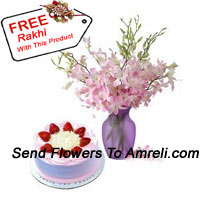 productFresh Orchids In A Vase Along With 1/2 Kg Strawberry Cake And A Free Rakhi
