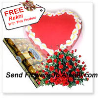 productBasket Of 100 Red Roses With 24 Pcs Ferrero Rocher and a 1 Kg (2.2 Lbs) Heart Shaped Strawberry Cake And A Free Rakhi