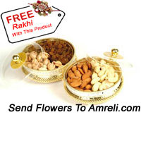 2 Boxes Of Assorted Dry Fruits With A Free Rakhi. Each Box Has 500 Grams Of Dry Fruit