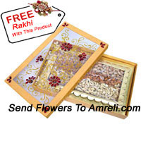 Assorted Dry Fruit In A Gift Box With A Free Rakhi. Weight 1 Kg