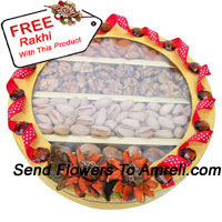productAssorted Dry Fruit In A Gift Box With A Free Rakhi. Weight 1 Kg