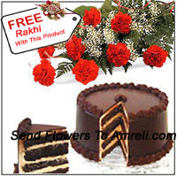 productBunch Of 12 Red Carnations With Seasonal Fillers and 1 Kg (2.2 Lbs) Chocolate Cake With A Free Rakhi