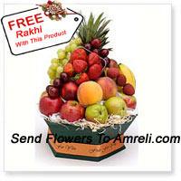 Basket Of 5 Kg (11 Lbs) Assorted Fresh Fruit Basket With A Free Rakhi