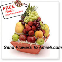 productBasket Of 6 Kg (13.2 Lbs) Assorted Fresh Fruit Basket With A Free Rakhi