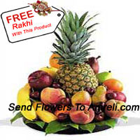 productBasket Of 5 Kg (11 Lbs) Assorted Fresh Fruit Basket With A Free Rakhi