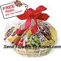 Basket Of 3 Kg (6.6 Lbs) Assorted Fresh Fruit Basket With A Free Rakhi