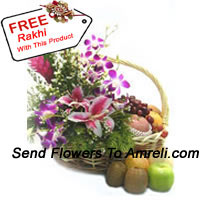 productBasket Of 4 Kg (8.8 Lbs) Assorted Fresh Fruit Basket With Assorted Flowers With A Free Rakhi