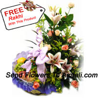 Basket Of 3 Kg (6.6 Lbs) Assorted Fresh Fruit Basket With Assorted Flowers With A Free Rakhi