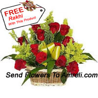 productBasket Of 18 Red Roses With Seasonal Fillers And A Free Rakhi