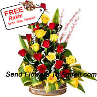 productBasket Of 12 Yellow And 12 Red Roses With Seasonal Fillers And A Free Rakhi