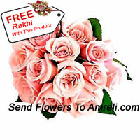 Bunch Of 12 Pink Roses With Seasonal Fillers With A Free Rakhi