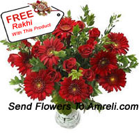Gerberas, Roses And Fillers In A Vase With A Free Rakhi
