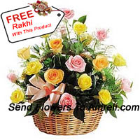 A Beautiful Basket Of 24 Mixed Colored Roses With A Free Rakhi