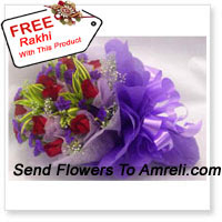 12 Stalks Of Passionate Red Roses With A Free Rakhi