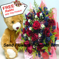 productBunch Of 12 Red Roses With Fillers And A Medium Sized Cute Teddy Bear With A Free Rakhi