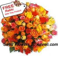 productBunch Of 100 Mixed Colored Roses With A Free Rakhi
