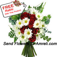 Bunch Of Roses And Assorted Flowers With A Free Rakhi