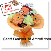 Cute Bunch Of 10 Gerberas With A Free Rakhi