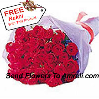Beautifully Wrapped Bunch Of 24 Red Roses With A Free Rakhi