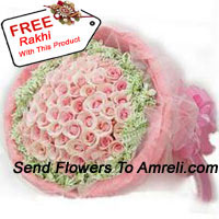 Bunch Of 50 Pink Roses With Seasonal Fillers And A Free Rakhi