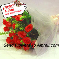 Bunch Of 12 Red Roses With Fillers And A Free Rakhi