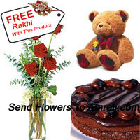 product6 Red Roses In A Vase With 1/2 Kg (1.1 Lbs) Chocolate Cake and a Medium Sized Cute Teddy Bear With A Free Rakhi