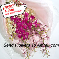 productBunch Of Orchids With A Free Rakhi