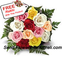productBunch Of 12 Mixed Colored Roses With Seasonal Fillers And A Free Rakhi