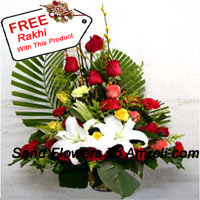productBasket Of Assorted Flowers Including Lilies, Roses And Carnations With A Free Rakhi