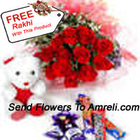 Bunch Of 12 Red Roses With Assorted Chocolate And A Cute Teddy Bear With A Free Rakhi