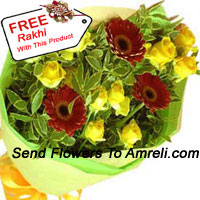 productBunch Of 10 Yellow Roses And 3 Red Colored Gerberas With A Free Rakhi