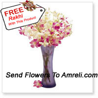 productOrchids In A Vase With A Free Rakhi