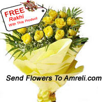 productBunch Of 24 Yellow Roses With A Free Rakhi