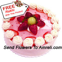 1/2 Kg (1.1 Lbs) Strawberry Cake With A Free Rakhi