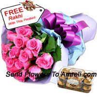 productBunch Of 12 Pink Roses With 16 Pcs Ferrero Rocher And A Free Rakhi